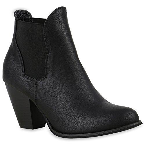 Damen Stiefeletten Chelsea Boots High Heels Blockabsatz Schuhe Schwarz