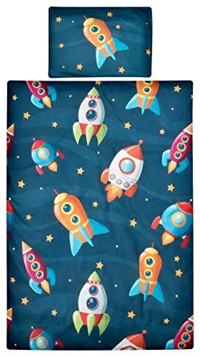 Aminata Kids Baby-Bettwäsche-Set Weltall 100-x-135-cm | Jungen, Mädchen | Kinder-Bettwäsche Weltraum aus 100-% Baumwolle | dunkel-blau, bunt | Marken-Reißverschluss & Öko-Tex