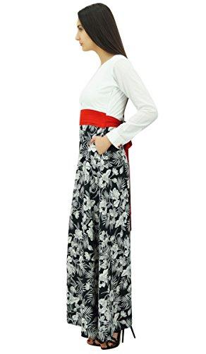 Bimba manches longues ceinture rouge robe maxi estivale décontractée des femmes blanc et noir