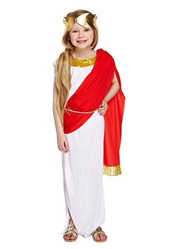 Mädchen römischen Göttin Kostüm Princess Toga Outfit 4-12Jahre - Weiß, 10-12 Jahre
