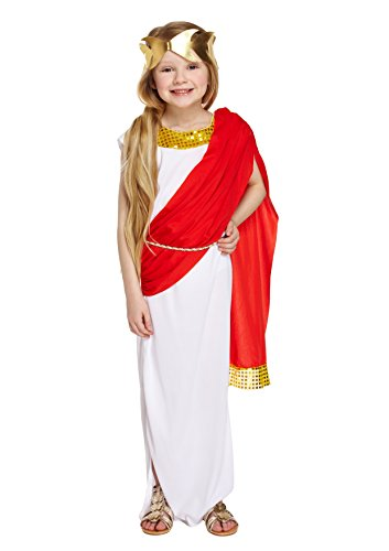 Mädchen römischen Göttin Kostüm Princess Toga Outfit 4-12Jahre - Weiß, 10-12 (Toga Kostüme Göttin)