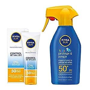Nivea Sun Kids – Spray Solar Niños Hidratante FP50+ – Protección UV muy alta – 300 ml + Nivea Sun – Crema Solar Facial Control de Brillos FP50 – Protección UV alta – 50 ml