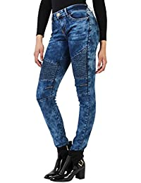 KRISP® Femmes Jeans Pantalons Uni Skinny Taille Haute Casual Customisé