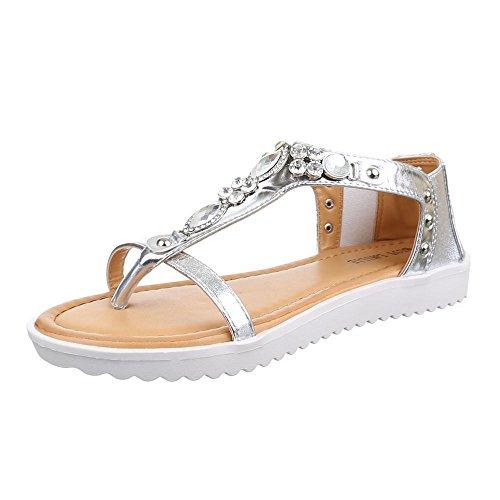 Damen Schuhe, 1021-28, SANDALEN ZEHNENTRENNER MIT DEKOSTEINCHEN Silber