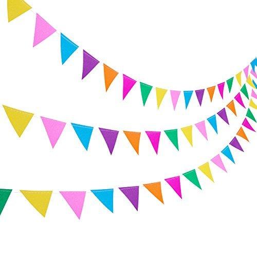 (Blulu 3 Stück Papier Wimpel Girlande 11,5 Fuß Party Bunting Hängende Dekorationen für Hochzeit Geburtstag Hause Deko)