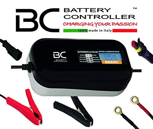 BC Battery Controller BC BRAVO 2000, Caricabatteria e Mantenitore Digitale/LCD, Tester di Batteria e Alternatore per tutte le Batterie Auto e Moto 12V Piombo-Acido, 2 Am