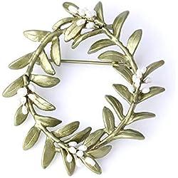 Circlefly Broche retro de hoja de olivo Broche de perla pintado de cobre de Europa Europa y América cientos de accesorios a juego