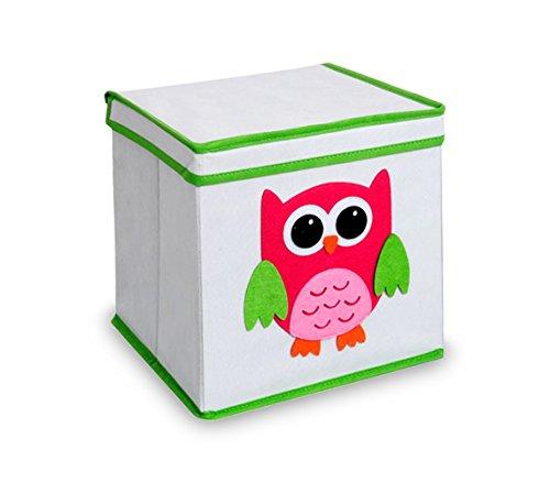 783102 Caja guarda juguetes cuadrada con tapa 27 x 28 cm BÚHO - COCHE - Búho
