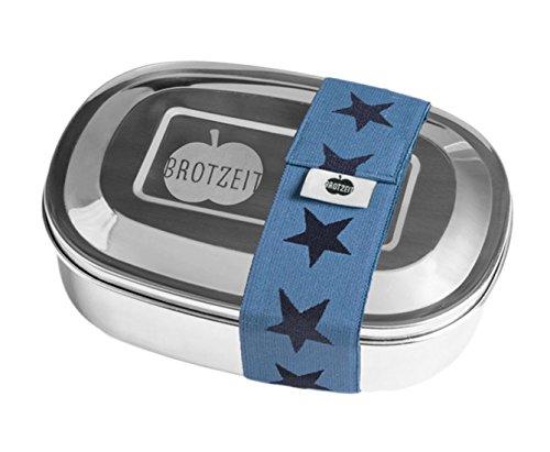 Brotzeit- Lunchbox Brotdose duo Edelstahl mit Sternen Band und Fächern, 16x11x4cm, Blau