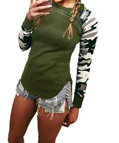 EMIN Damen Fitness Camouflage Rundhals Langarm Hemd Shirt Lässige Bluse Tops  Armgrün