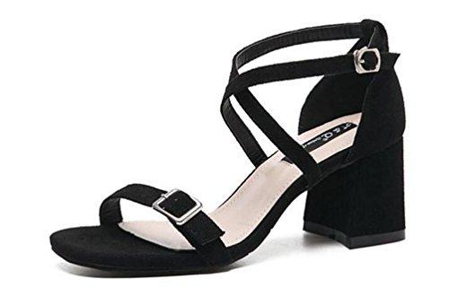OL Sandales Scrub Ceinture Décoration Chunky Talon Haut Ouvert Toe X-Straps Chaussures Casual Occasionnels Taille UE 35-39 Black