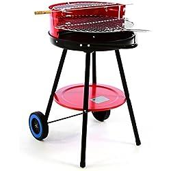 SONLEX Grill mit Ablage 55 x 50 x 70 cm rot Rost höhenverstellbar Rundgrill Bratenspieß Spritzschutz Räder Standgrill freistehend Holzkohle-Grill