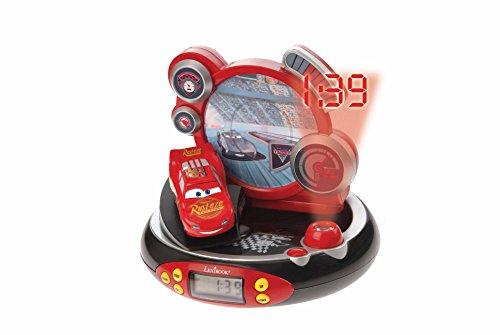 Disney Lexibook Pixar Cars 3 Saetta McQueen Radiosveglia con proiettore, Luce notturna integrata, proiezione del tempo sul soffitto,effetti sonori, funzionamento a batteria, Rosso/Nero, RP500DC
