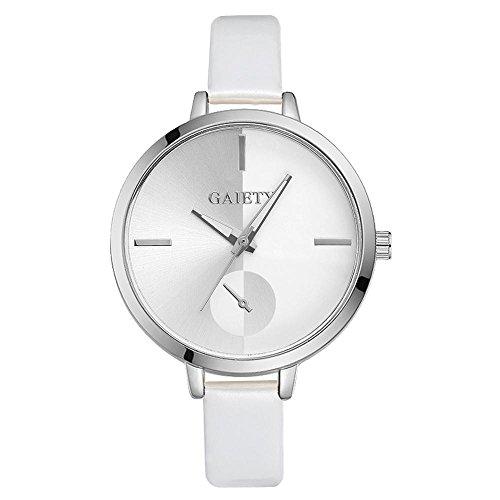 Sonew Frauen Uhr Elegante einfache Art PU Lederne analoge Quarz Anzeigen Armbanduhren mit Luxus rundem Vorwahlknopf Armband(White)