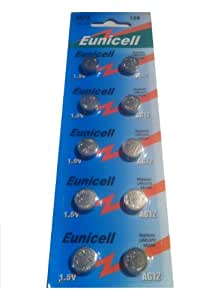 20 x Eunicell AG12 Coin/Button Cell 1.5v Alkaline Battery