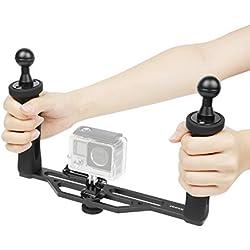SHOOT 260x150x180mm Aluminium sous-Marines Double Bras Stabilisateur Supports Lampes avec Boule 25mm pour GoPro OSMO et Autre Caméra d'action