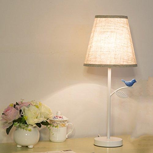 Table lamp.G ANDEa Einfache und moderne warme Wicker Cloth Birdie Garten Schlafzimmer Bedside Wohnzimmer Studie Deko Lampe Originalität (Farbe : Blau) (Blau Wicker)