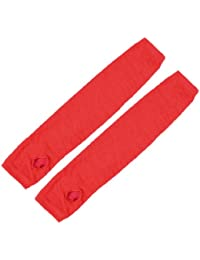 sourcingmap Paire Rouge tricoté Acrylique Mitaines Hiver Chauffe Bras Gants Longs Pour Femmes
