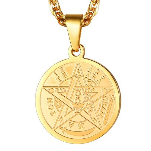 38c7cd5c17d PROSTEEL Collier Homme Plaqué Or Pendentif Amulette Sceau Pentacle de  Solomon Chaîne Réglable Offerte 55+