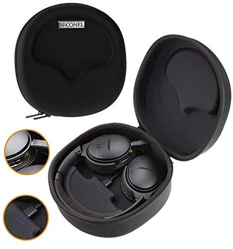 Navitech Broonel Noir Etui Housse Rigide De Rangement Compatible avec Casque et 2500mAh Power Bank Chargeur Compatible avec Audio-Technica ATH-DSR7BT Wireless Headphones