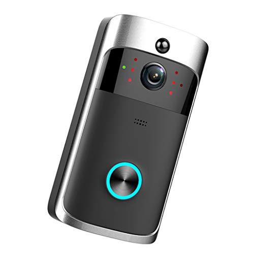 TGDY Doorbell Video-Türklingel Zwei-Wege-Gespräch, Video-Türklingel HD WiFi-Überwachungskamera, Video-Türklingel Nachtsicht PIR Motion Detection Control für iOS, Android und Coogle,Black -