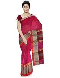 R K Chouhan Maheshwar Maheshwari Handloom Cotton & Silk Saree (Dark Pink)