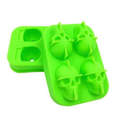 Nacola 3D Skull Silikon Jello Eisform Flexible Cube Maker Tray für Halloween Weihnachten Party Best for Whiskey Cocktails grün