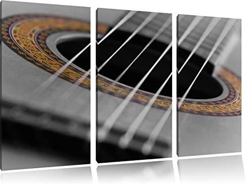 verziertes Schallloch einer Westerngitarre schwarz/weiß 3-Teiler Leinwandbild 120x80 Bild auf Leinwand, XXL riesige Bilder fertig gerahmt mit Keilrahmen, Kunstdruck auf Wandbild mit Rahmen, günstiger als Gemälde oder Ölbild, kein Poster oder Plakat