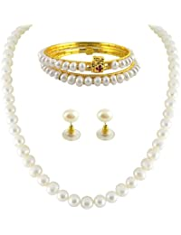 Trendy Souk ---Showwhite --- Single line Real FreshWater Hyderabadi (6-8mm) White Pearls, AAA Quality (Length 16-18 inches)+ 2 Bangles DIWALI GIFT SET