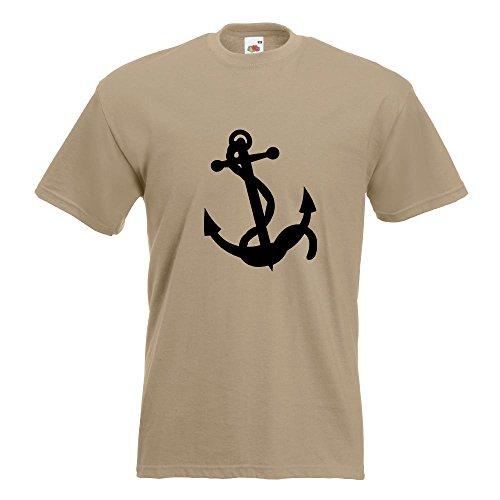 KIWISTAR - Anker Motiv3 T-Shirt in 15 verschiedenen Farben - Herren Funshirt bedruckt Design Sprüche Spruch Motive Oberteil Baumwolle Print Größe S M L XL XXL Khaki