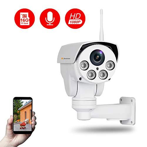 Jennov PTZ IP Kamera 1080P HD WLAN Überwachungskamera 260° schwenkbar 60° neigbar mit 4X Fach optischem Zoom 16GB Micro SD-Karte IR Nachtsicht IP66 wasserdicht Wireless für Haus Innen Outdoor Außen (Sd Micro 16gb)