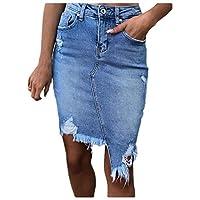 DUe Women Cowboy Bodycon Tassel Skinny Ripped Asymmetric Hem Midi Skirt 2 L