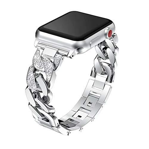 ZYWIGS Bling Strap-kompatibel für Apple Watch Series 4 3 2 1, 38 / 40mm, 42 / 44mm Damen Strass iWatch Armband Ersatzband Edelstahlbänder,Silver,38/40mm (Nike-damen-uhr)