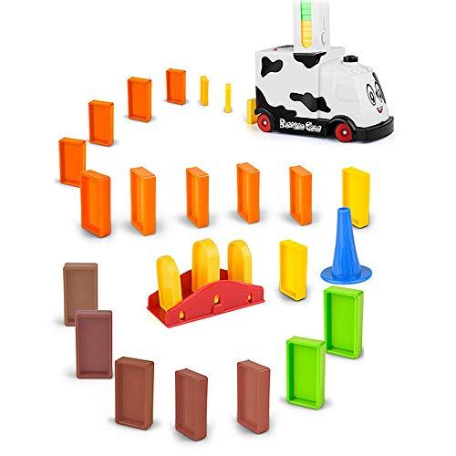 Cozyhoma Domino Zug Spielzeug Rallye Elektrische Zug Modell w/Lichter Sound, 60 stücke Bunte Domino Spiel Bausteine   Auto LKW Fahrzeug Stapeln Spielzeug für Kinder Kinder Jungen Mädchen - Modell Züge, Autos
