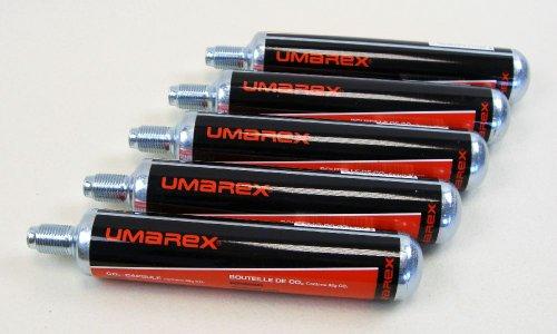 5 Umarex Co2 Kapseln 88 Gramm für Gotcha / Softair / Paintball + 10 ShoXx.® shoot-club Zielscheiben 14x14 cm mit zusätzlichen grauen Ring und 250 g/m²