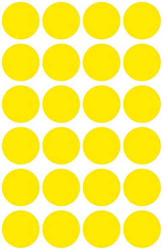 Avery 3598 Círculo Amarillo 96pieza(s) - Etiqueta autoadhesiva (Amarillo, Círculo, Papel, 1,8 cm, 96 pieza(s), 24 pieza(s))