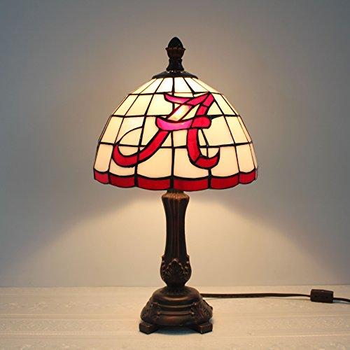 9-Zoll-NCAA Alabama Crimson Tide Alphabet eine Glasmalerei Tischlampe
