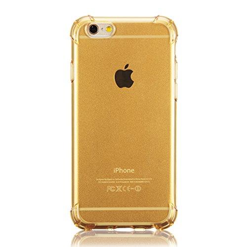 iphone Case TPU Coque Transparente de Protection[Sans Encombrement Douce] pour Apple iPhone 6 6s 4.7 inch Gel Silicone ÉTUIS HOUSSE Protecteur Crystal Claire Coussin d'air Pour iPhone 6 (2014) / 6s (2 Coussin Or