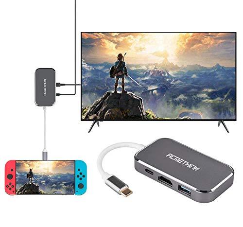 ACMETHINK Ersatz-Dock für Nintendo Switch, HDMI Typ C Hub Adapter für Nintendo Switch, USB C auf HDMI Adapter für MacBook (Chromebook-screen-ersatz)