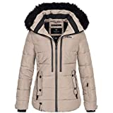 Marikoo Damen Winterjacke Jacke Winter Parka Ourdoor Ski warm Kapuze Snowgirl XS-XXL 7-Farben, Größe:M / 38, Farbe:Taupe