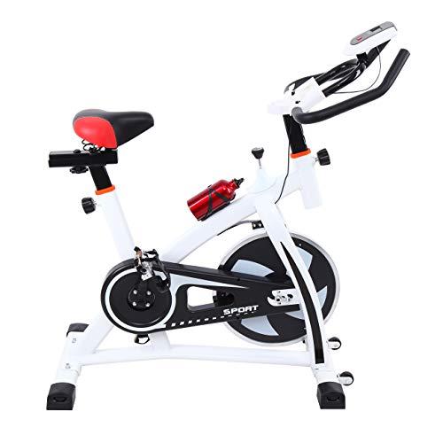 Ridgeyard Heimtrainer Fitnessbike Fahrrad Indoorcycling Home Fahrradtrainer Cardio Workout, direktes Riemenantrieb, Einstellbare Lenker und Sitz mit LCD-Display Scan, Zeit, Geschwindigkeit, Entfernung, Kalorien, Kilometerzähler(Weiß)