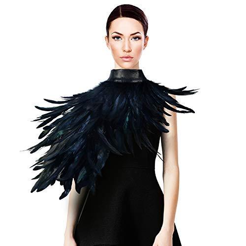 Homelex Gothic Echt Schwarz Federn Cape Schal Schulterflügel Choker Kragen - Krähe Rabe Kostüm