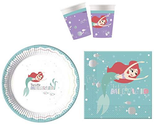 JT-Lizenzen Premium Party-Geschirr Set Disney Arielle Die kleine Meerjungfrau - Teller Becher Servietten (8 Personen)
