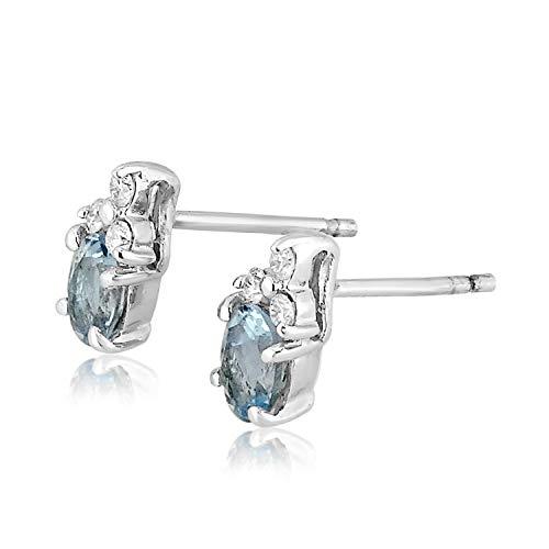 ❤ ️ Mille Amori Damen-Ohrringe 9 Karat (375) Weißgold 0,13 Karat – Aquamarin 0,90 Karat