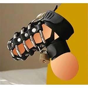 Health-X Ensemble en cuir ceinture de chasteté, agrandisseur de testicules et retardateur d'éjaculation pour homme Noir