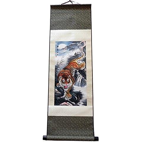 Grand kakemono - Pittura asiatica su seta, murale, motivo: tigre