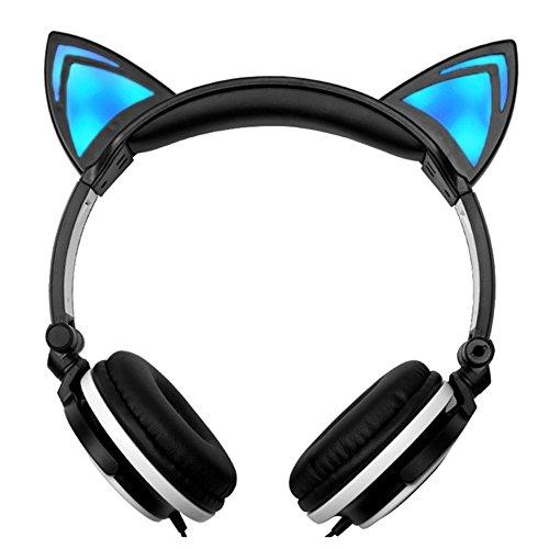 Kinder Kopfhörer mit LED-blinkende Lichter Glowing–Katze Ohren Volumen Limited Draht über Ohr Kopfhörer für iPod, iPhone, iPad, Tablets, Smartphones, Kindle, PC, MP3