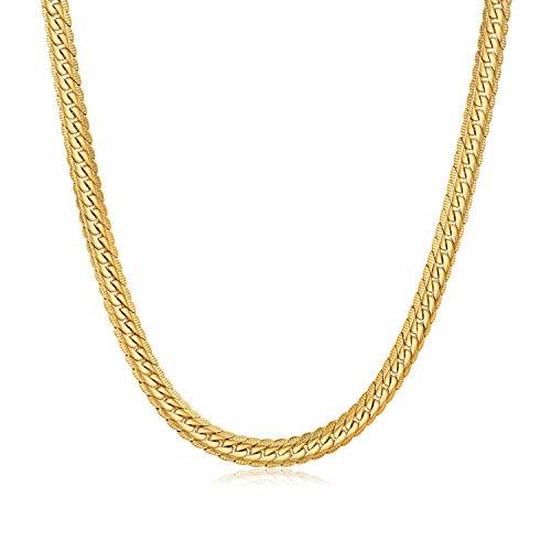 WINNICACA Hip Hop 24 Karat Gold überzogene Kette für kubanische Panzerkette für Herren Halskette Modeschmuck 18/20/22/24/26 Zoll, 4/5/6mm Breite Unisex (18, 6)