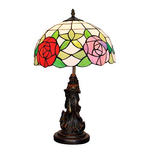 XJAN European Desk Light, Mediterrane Tischlampen Rose Lampenschirm 12 In Tiffany Tischbeleuchtung, Log Resin Base, 2 Lichter Kopf E27,220V -
