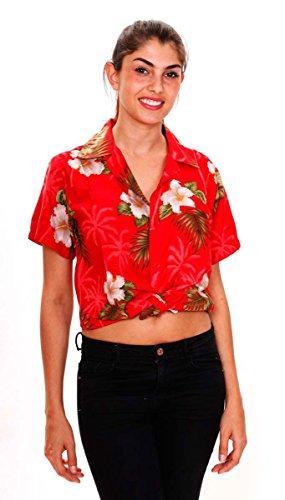 Original King Kameha | Funky Hawaiibluse Hawaiihemd | Damen | XS - 6XL | Kurzarm | Front-Tasche | Hawaii-Print | Kleine Blumen Blätter Floral | Rot Rot